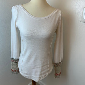 NWOT Free People Newbie Thermal with Knit cuffs.